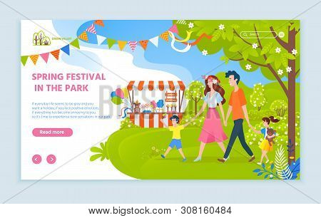 Spring Festival In Park Vector, Family Walking Together Mother And Father With Child On Nature, Tent