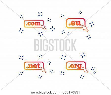 Top-level Internet Domain Icons. Com, Eu, Net And Org Symbols With Cursor Pointer. Unique Dns Names.