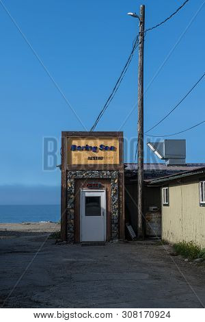 Nome, Alaska - June 10: The Bering Sea Restaurant On Front St And The Shoreline On June 10 2019 In N
