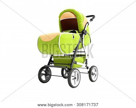 Springs Light Green Stroller With Fabric Inserts For The Child 3d Render On White Background No Shad