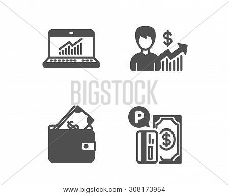 Set Of Online Statistics, Wallet And Business Growth Icons. Parking Payment Sign. Computer Data, Usd