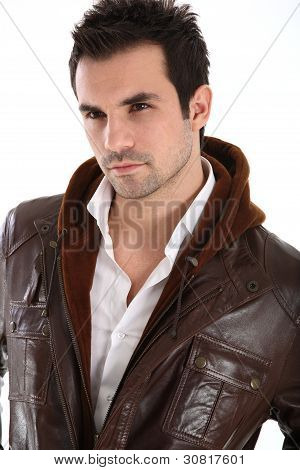 Handsome Man In Leather Jacket