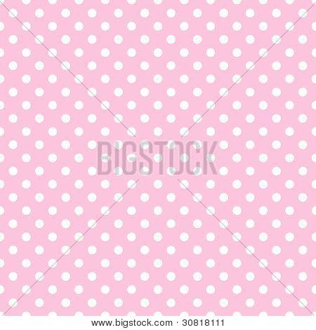 White Polka Dots on Pale Pink
