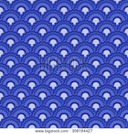 Vibrant Mermaid Scales Squama Background, Vector Seamless Fabric Pattern, Tiled Textile Print. Vinta