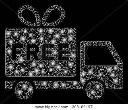 Flare Mesh Free Shipment With Glow Effect. Abstract Illuminated Model Of Free Shipment Icon. Shiny W