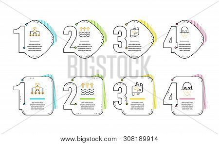 Restructuring, Evaporation And Journey Path Icons Simple Set. Face Recognition Sign. Delegate, Globa