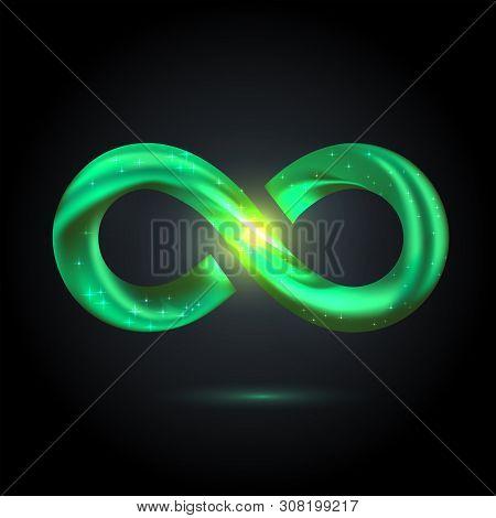 Green Fusion Swoosh Line Infinity Symbol. Vector 3d Volume Illustration On Black Background. Sparkle