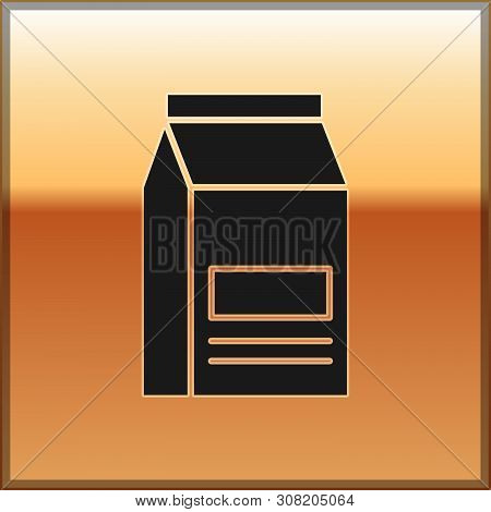 Black Bag Of Food Icon Isolated On Gold Background. Food For Animals. Pet Food Package. Vector Illus