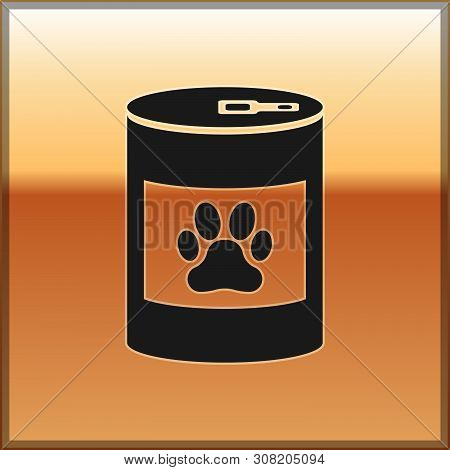 Black Canned Food Icon Isolated On Gold Background. Food For Animals. Pet Food Can. Dog Or Cat Paw P