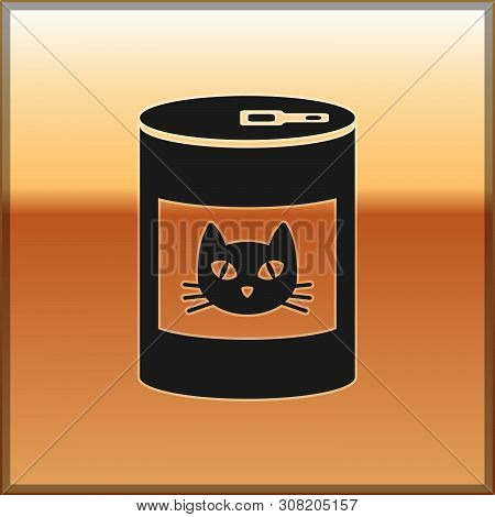 Black Canned Food For Cat Icon Isolated On Gold Background. Food For Animals. Pet Dog Food Can. Vect