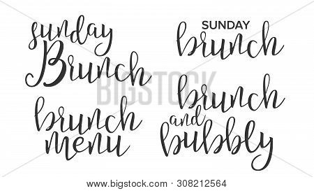 Funny Modern Calligraphy Of Brunch Word Vector. Stylish Typography Inscription With Different Handwr