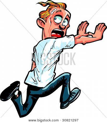 Cartoon man running from something.