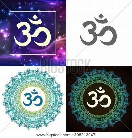 Om Symbol Of Hindu Deity God Shiva Set Vector. Collection Of Aum Aum Emblem On Different Lace Ornate
