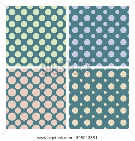 Vintage 1950 Polka Dot Set Seamless Pattern Vector. Collection Of Retro Colorful Fashion Elegance Te