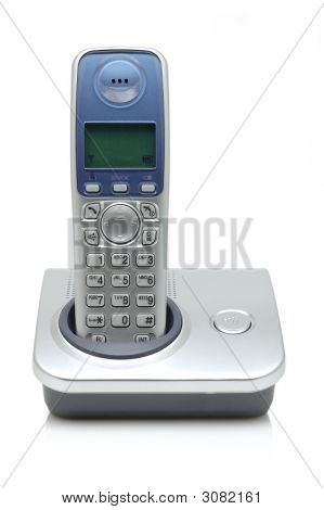 Silver cordless phone isolated on white background poster