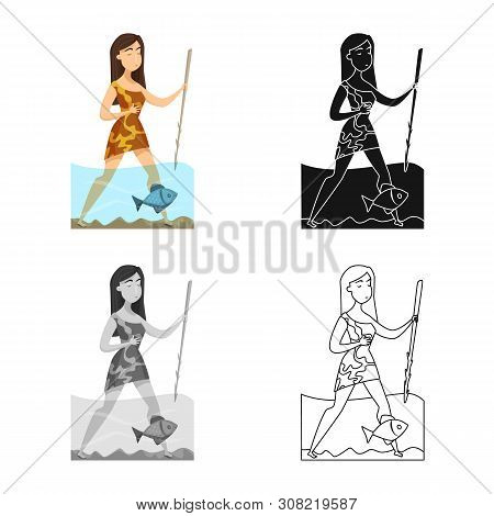 Vector Illustration Of Woman And Neanderthal Sign. Set Of Woman And Fish Vector Icon For Stock.