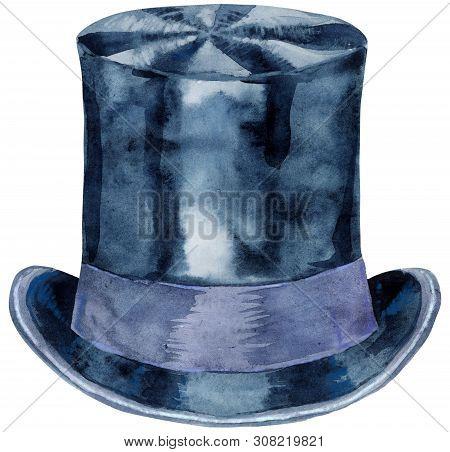 Watercolor black hat topper. Cylinder - headdress. Vintage mens dress. poster