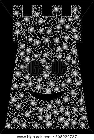 Flare Mesh Glad Fort Tower With Sparkle Effect. Abstract Illuminated Model Of Glad Fort Tower Icon.