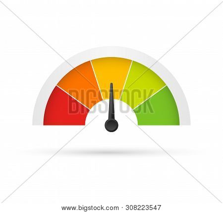Rating Customer Satisfaction Meter. Different Emotions Art Design From Red To Green. Abstract Concep
