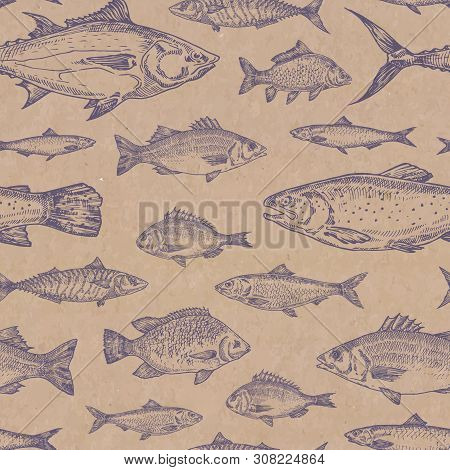Hand Drawn Fish Vector Seamless Background Pattern. Craft Cardboard Paper Texture. Anchovy, Herrings