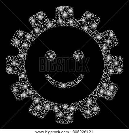 Glossy Mesh Gear Smile Smiley With Lightspot Effect. Abstract Illuminated Model Of Gear Smile Smiley