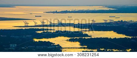 Norfolk Virginia Va Port City At Sunset