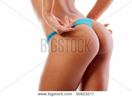 sexy young woman back. Isolated over white