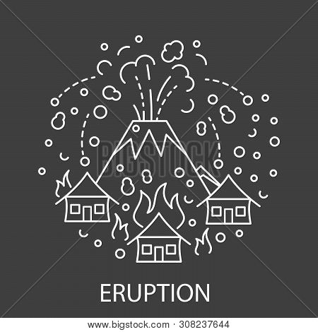 Eruption Natural Disaster Circle Banner In Linear Style. Black And White Compositions Of Thunderstor