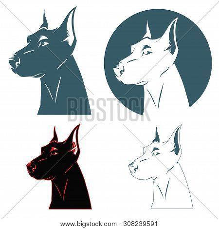 Doberman Dog Head - Vector Illustration - Vector