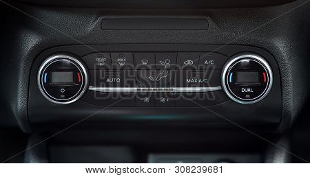 Panel On Car Dashboard With Controls For Air Conditioning