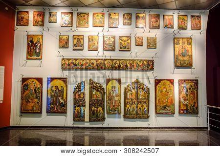 Antalya, Turkey - May 20, 2019: Ancient Christian Icons In The Museum Of Antalya. Orthodox Christian
