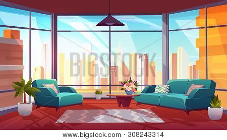 Living Room With Panoramic Window Interior, Cozy Spacious Apartment With Couch, Armchair, Coffee Tab