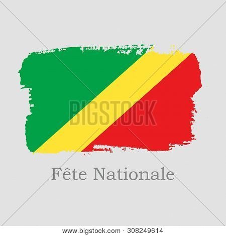 Vector Illustration. Hand Draw Republic Of The Congo Flag. National Republic Of The Congo Banner For