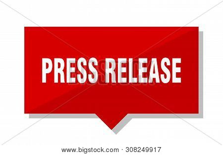 Press Release Red Square Price Tag On White Background