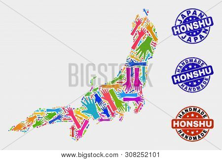 Vector Handmade Collage Of Honshu Island Map And Rubber Seals. Mosaic Honshu Island Map Is Done With