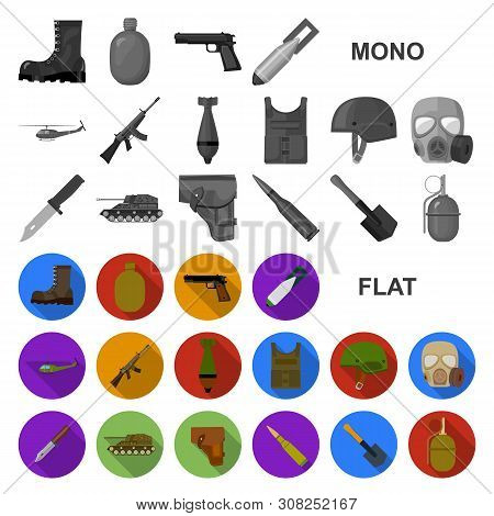Army And Armament Flat Icons In Set Collection For Design. Weapons And Equipment Bitmap Symbol Stock