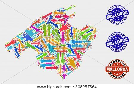 Vector Handmade Combination Of Mallorca Map And Rubber Stamps. Mosaic Mallorca Map Is Done With Rand