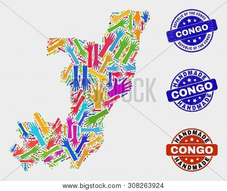 Vector Handmade Combination Of Republic Of The Congo Map And Unclean Seals. Mosaic Republic Of The C