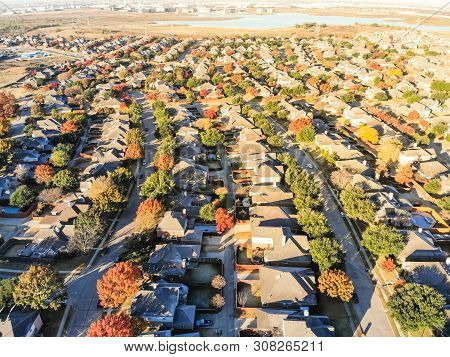 Aerial View Suburban Sprawl Row Of Single-family Detached House On Large Expanses Of Land Dallas, Te