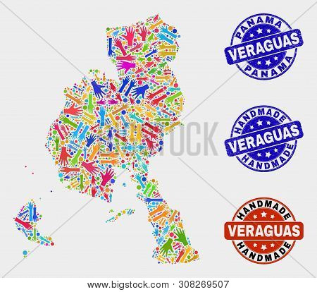 Vector Handmade Composition Of Veraguas Province Map And Unclean Watermarks. Mosaic Veraguas Provinc