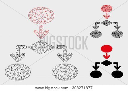 Mesh Flowchart Model With Triangle Mosaic Icon. Wire Carcass Triangular Mesh Of Flowchart. Vector Mo