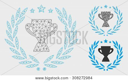 Mesh Glory Emblem Model With Triangle Mosaic Icon. Wire Carcass Polygonal Mesh Of Glory Emblem. Vect