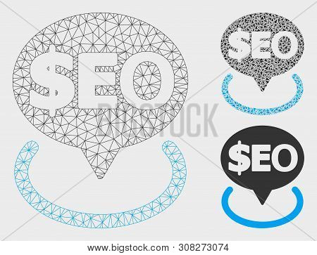 Mesh Geotargeting Seo Model With Triangle Mosaic Icon. Wire Carcass Polygonal Mesh Of Geotargeting S