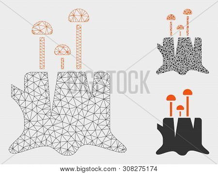 Mesh Fungus Stump Model With Triangle Mosaic Icon. Wire Frame Polygonal Mesh Of Fungus Stump. Vector