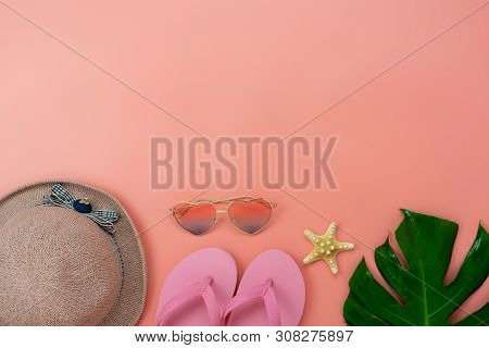 Table Top View Accessory Of Clothing Women Plan To Travel In Summer Holiday Background Concept.monst