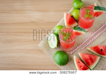 Fruit Tropical With Drink With Spring Summer Holiday & Vacation Background Concept.arrangement Items