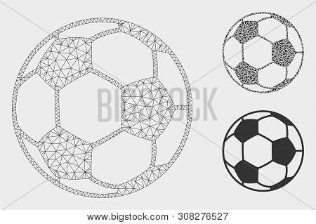 Mesh Football Ball Model With Triangle Mosaic Icon. Wire Carcass Triangular Mesh Of Football Ball. V