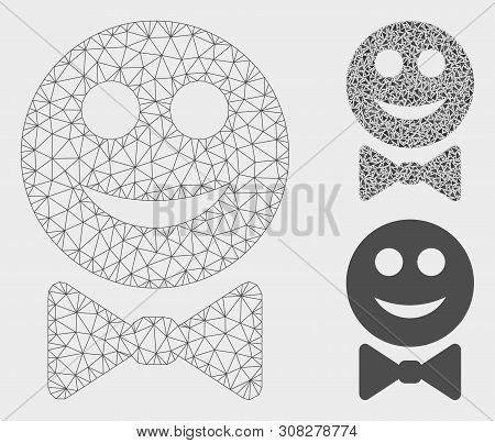 Mesh Glad Waiter Model With Triangle Mosaic Icon. Wire Frame Triangular Mesh Of Glad Waiter. Vector