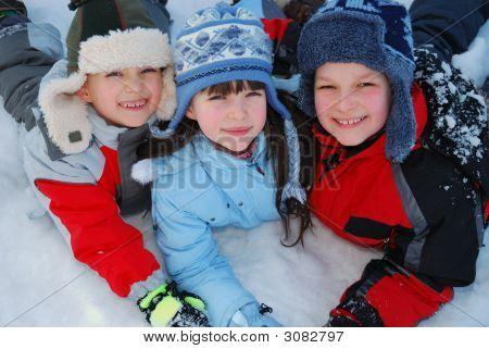 Happy Children In Winter
