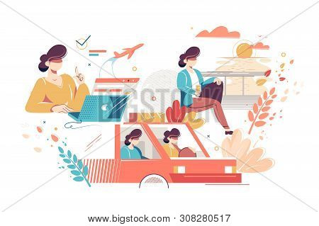 Process Stages Of Tourist Trip Vector Illustration. Phases Happy Vacation. Woman Booking Flight Tick